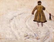 Мальчик на снегу.Этюд к картине