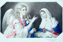 Благовещение (с гравюры с картины В. Л. Боровиковского). 1866.